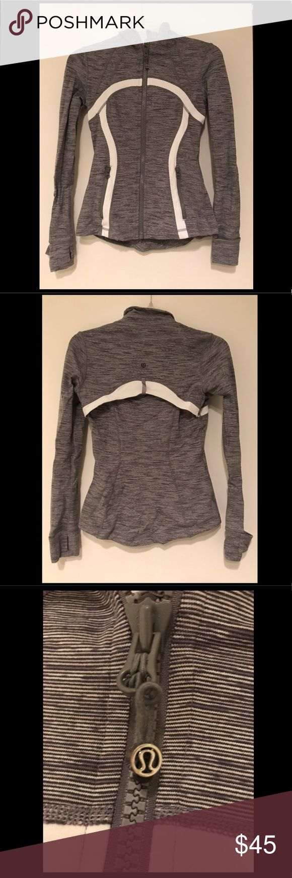 Lululemon Define Jacket Grey and white Lululemon Define Jacket. Zipper side pockets and thumb holes. Size 4 lululemon athletica Tops Sweatshirts & Hoodies