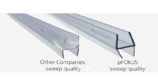 Framed shower door seals DS8229 – a clear ribbed shaped flexible soft framed glass replacement seal which slides into the drip rail with no tools needed. pFOkUS shower door seals are clear in color and manufactured from the highest quality materials. To see more styles of shower door drip rail seals click the link below.