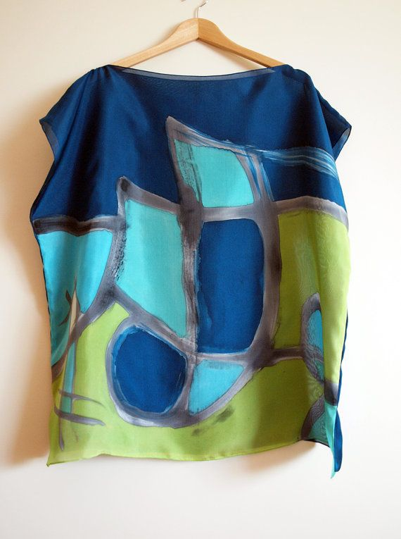 Silk blouse hand painted-Silk scarf-Wedding blouse by gilbea