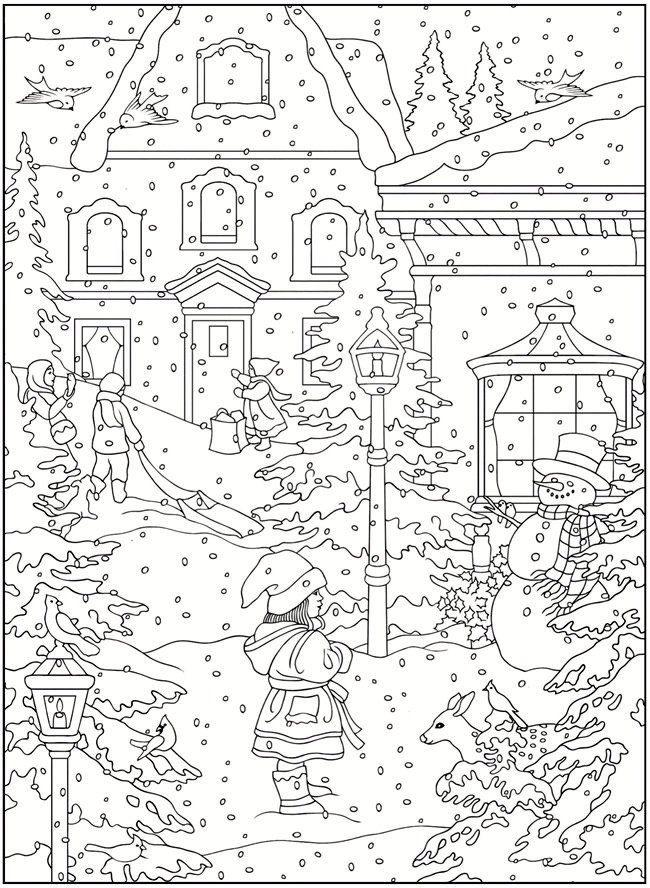 Картинка зимний лес для детей раскраска