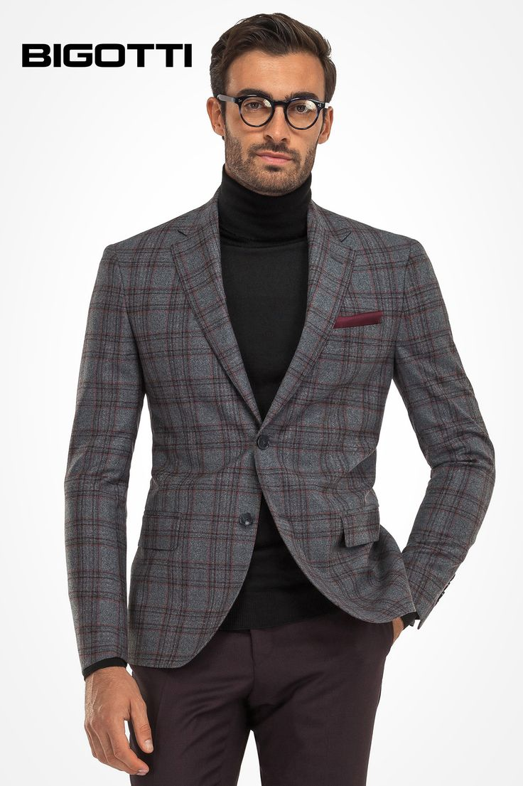 #Smart #casual #inspiration. #Paired with #rollneck #sweater, #jeans or #chinos, the #plaid #blazer #offers a #fresh #perspective of a #stylish, but #more #relaxed #look.  www.bigotti.ro #sacouri #barbati #carouri #mensfashion #menswear #ootd #follow #ootdmen #mensclothing #mensstyle