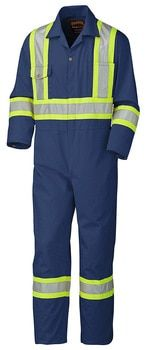Navy 5516 Safety Poly/Cotton Coverall