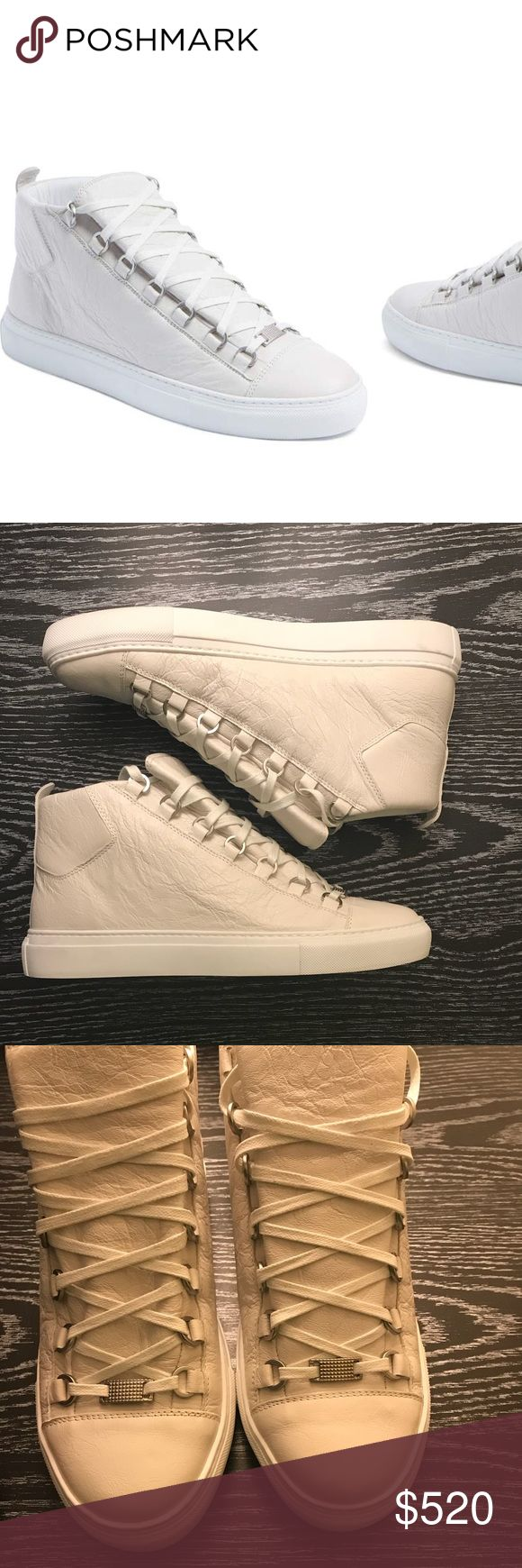 Balenciaga arena high sneaker Balenciaga arena high sneaker new without box and original tag size 40EU 7 in men's color is considered Extra blank leather (off white /cream) . No scuffs on leather open to questions and reasonable offers. Originally bought at Nordstroms . Balenciaga Shoes Sneakers