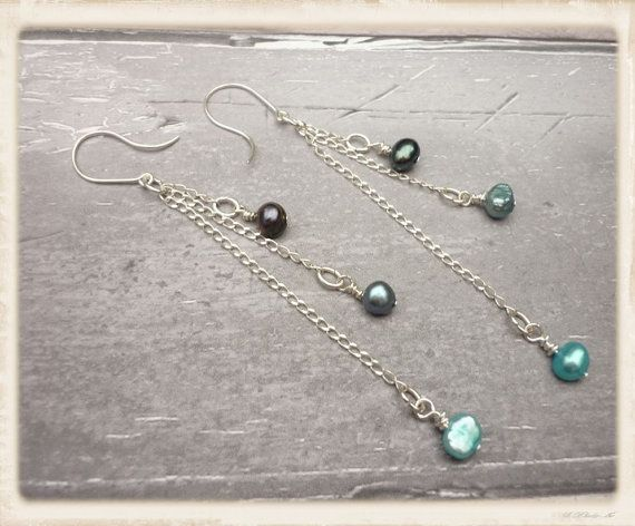 Long seed pearl earrings seed pearl dangle by catchmearainbow