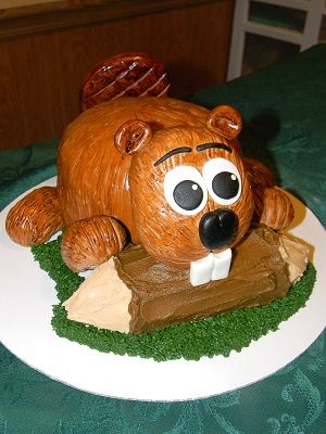 Beaver cake for the principal at Beaver Local High School