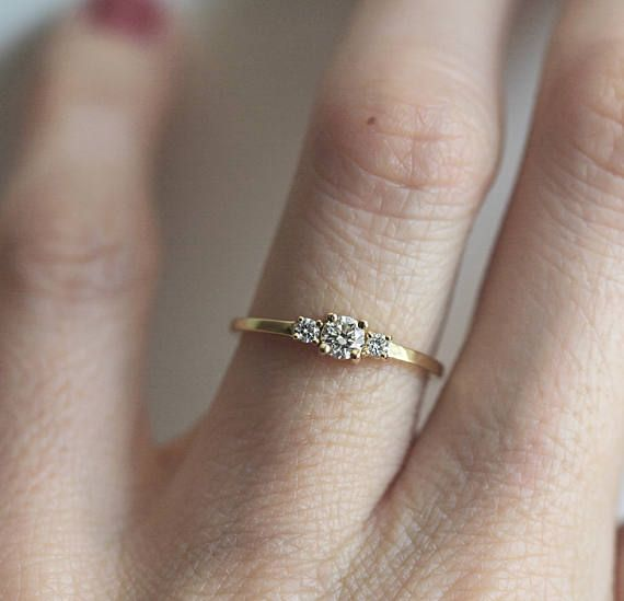Simple Three Diamond Ring Yellow Gold, Diamond Engagement Ring