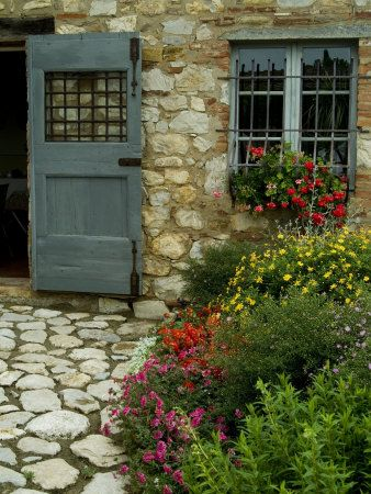 Flowers Line The Path And Adorn A Window Of A Tuscan Villa, Tuscany, Italy  Photographic Print