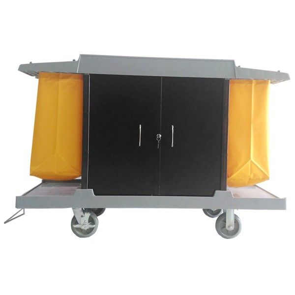 Guest Room Service Cart Plastik with Cover High B.  - Color	: 	Grey Trolley, yellow bag - product size 	:	148x53.5x120 cm - Harga Per Unit.  http://alatcleaning123.com/troley-carts/1867-guest-room-service-cart-plastik-with-cover-high-b.html  #guestroomservicecart #trolley #alatcleaning