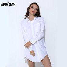 Aproms moda di strada a strisce lunghe camicetta casual donna 3 tasche sciolto tunica shirt bianco nero top per le donne clothing vestidos(China (Mainland))