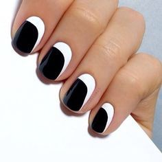 Modern black and white nails