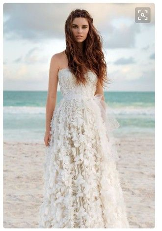 $260 Beautiful White Lace Printed Patterned Strapless Wedding Dress Gown Beach Wedding Inspiration