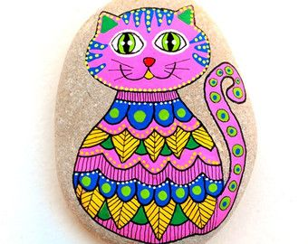 Gato de piedra pintados a mano / Gatto por ISassiDellAdriatico