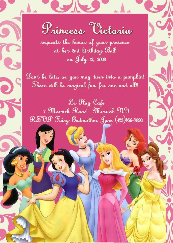 Disney Princess Birthday Party Invitation You Print Stuff To Buy