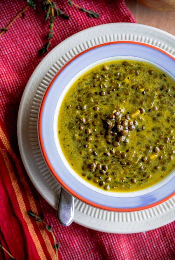 Green-Lentil Soup with Coconut Milk & Indian Spices @blogoverthyme