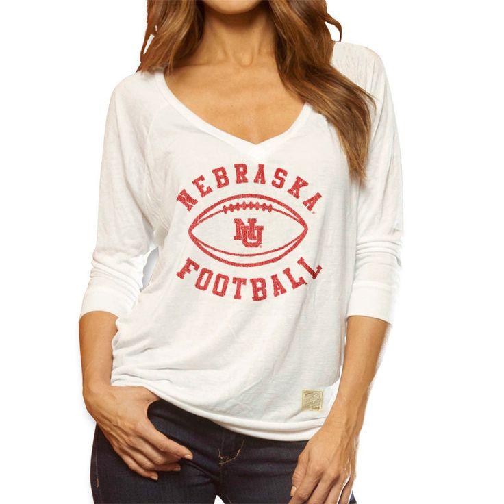 Vintage Nebraska Football Top - White - LS