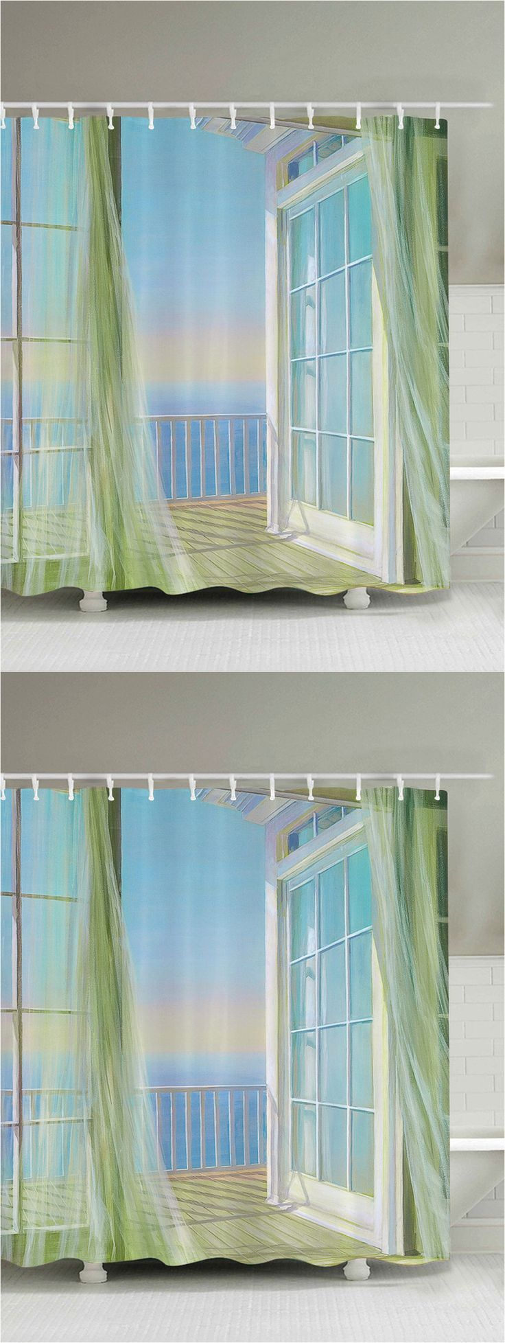 $20.47 Bath Decor Balcony Seascape Shower Curtain - White