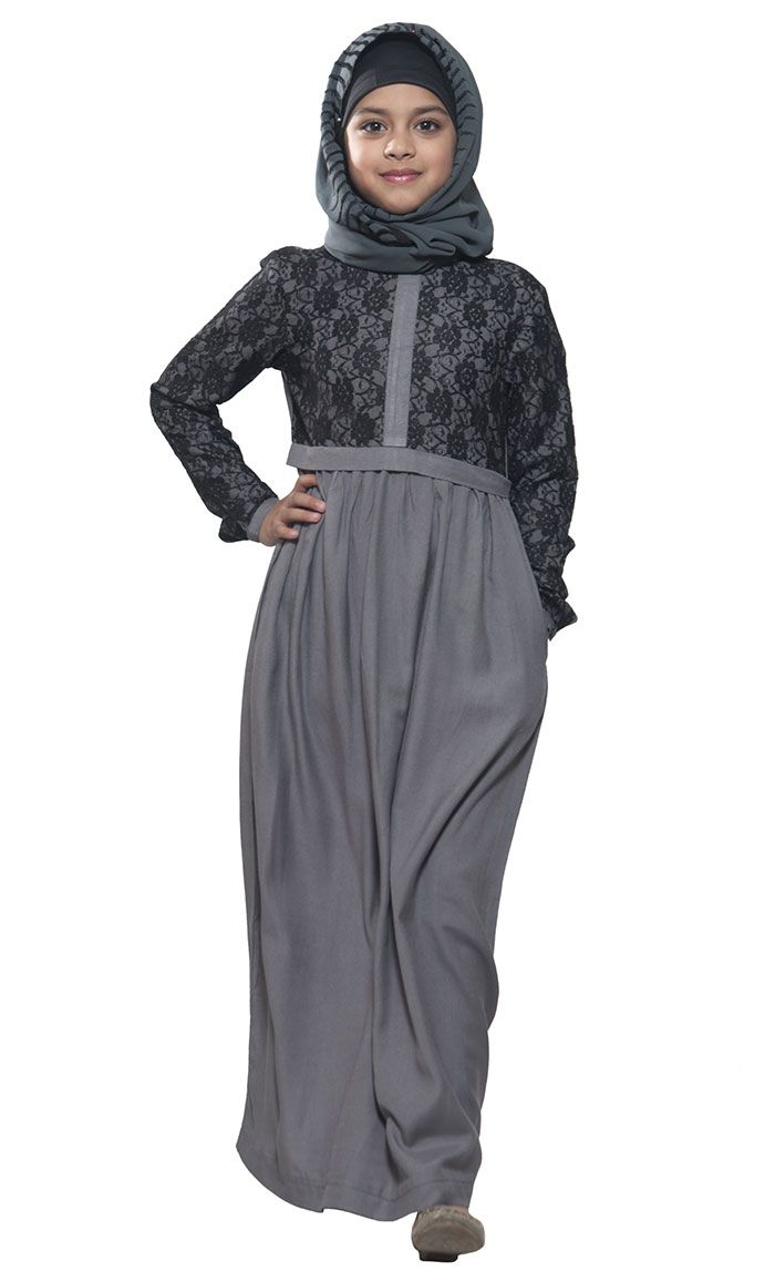 Rayon with Lace Kid's Grey Abaya