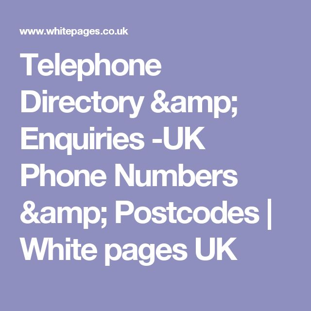 Telephone Directory & Enquiries -UK Phone Numbers & Postcodes | White pages UK