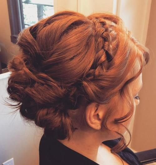 Braid Updo with delicate curls framing face