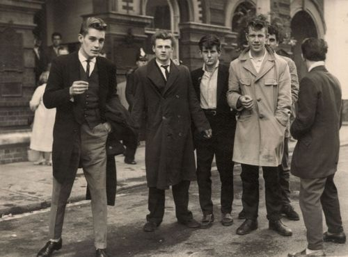 Young Men in the 50's ~ pretty much wore coats, ties, jackets. Just different styles then now.