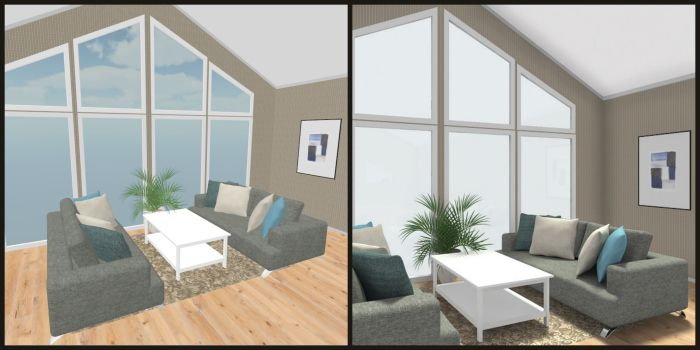 compare living room design with floor to ceiling windows left roomsketcher right. Black Bedroom Furniture Sets. Home Design Ideas