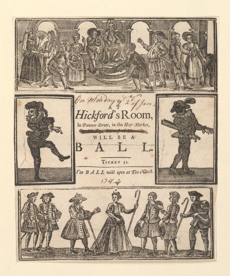 Ticket to a ball at Hickford's Rooms, 1744