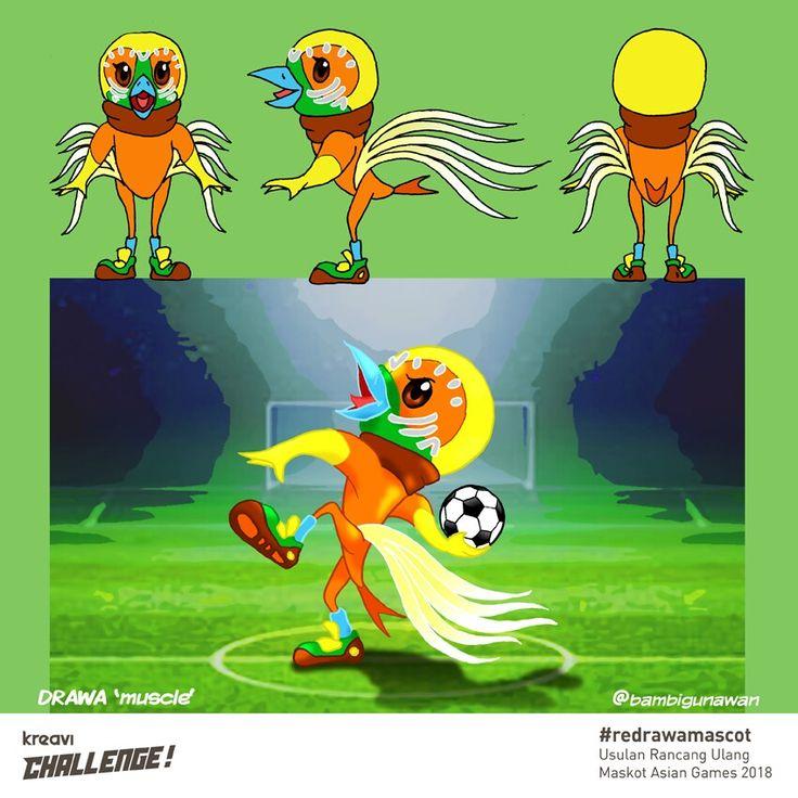 """@kreavi challenge redraw a mascot, """"DRAWA-muscle""""  #redraw #redrawamascot #kreavichallenge #kreavi #drawa  #asiangames #cendrawasih #logo #mascot #mascotasiangames #maskot #maskotcenderawasih #cartoon #kartun #masbambi #karyamasbambi #bambibambanggunawan"""