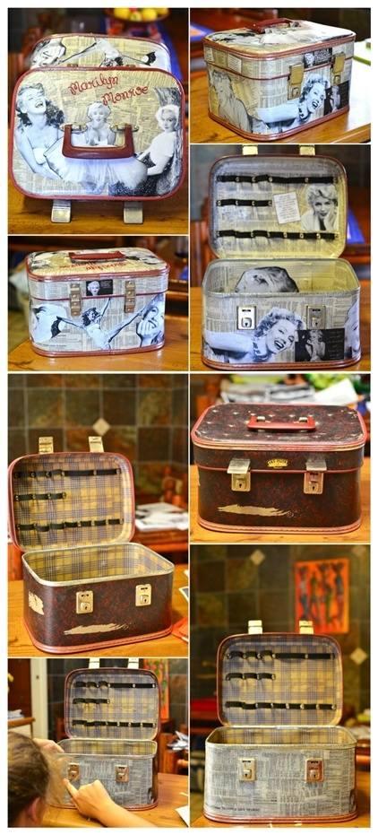 Modge Podge Vanity Case redo with telephone book pages and Mairlyn Monroe pictures for my daughter...
