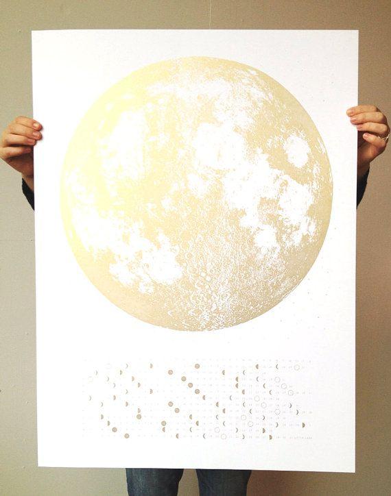 2015 Moon Phases Calendar, 22x30 large screenprint, silver gold or grey print on black, luna lunar wall art, space, stars