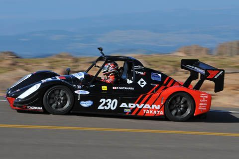 Toyota Motor Group EV P002 race car set a time of 10 minutes 15.380 seconds to set a new record for electric vehicles on the now fully ashphalt 19.99km track up the side of Pikes Peak.