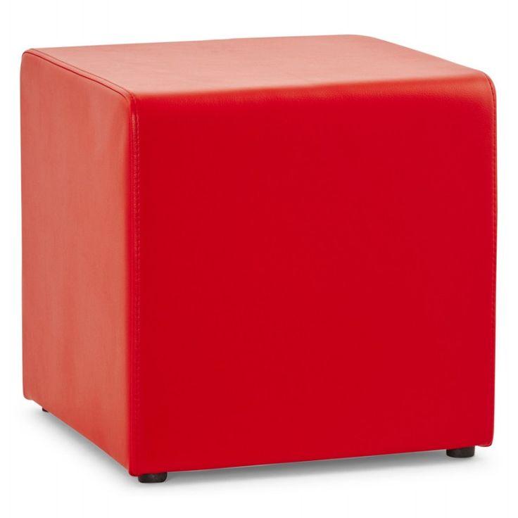 Assise rembourr e et peu encombrant le pouf carr portici for Pouf carre rouge