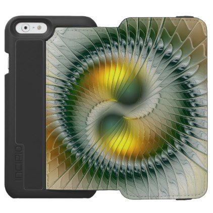 Yin Yang Green Yellow Abstract Colorful Fractal iPhone 6/6s Wallet Case - golden gifts gold unique style cyo
