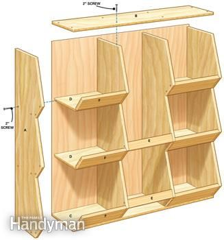 Storage for a family on the go - Use this diagram as an assembly guide.   These bins are great for sports gear and handle all kinds of miscellaneous garage clutter. Shelves and cabinets are great places to store kid stuff, but when you're in a hurry (and kids always are), it's nice to just throw and go.