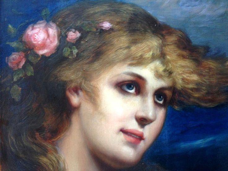 """ALOIS BROCH 1864-1939 Jewish Artist Wien München Berlin """" Girl with Roses """""""