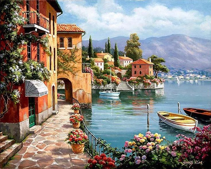 Romantic Harbor - Easy DIY Paint by Numbers Kits #romantic #harbor #landscape #DIY #paintbynumber  #canvas #canvaspaintings #drawings #prints #art #designs #canvasforhome #decor #beautiful #canvas1pieces
