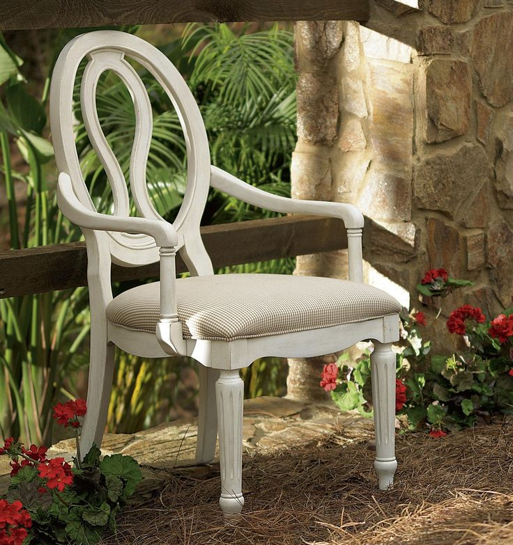Country Chic Maple Wood White Pierced Back Arm Chair