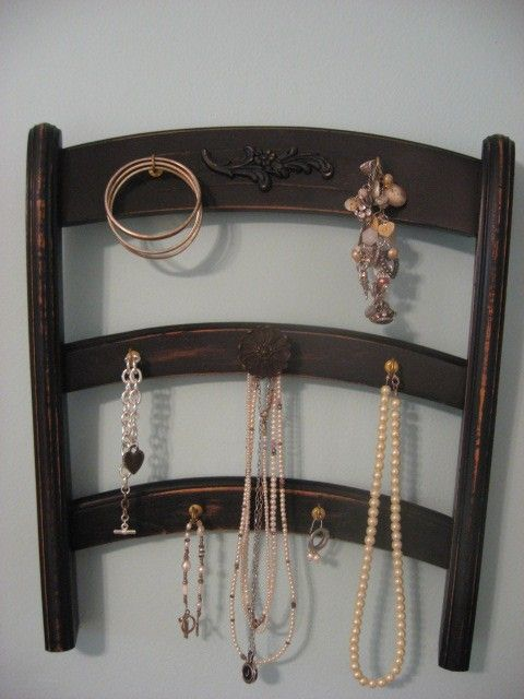 use an old chair back to make a jewelry rack. Would paint it bright colors