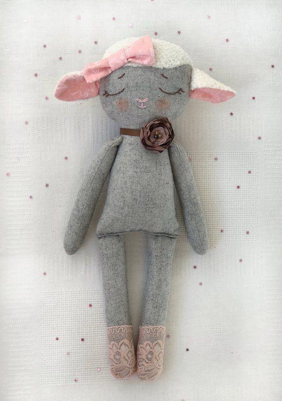 Lamb Rag Doll Handmade Stuffed Lamb Heirloom Doll Heirloom Doll Diy Christmas Gifts Christmas Gifts Toys