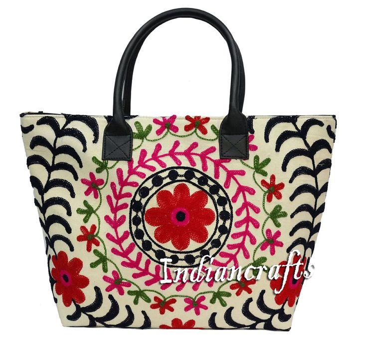 Ethnic Indian Cotton Woman Tote Handmade Suzani Embroidery Shoulder Bag Boho Bag