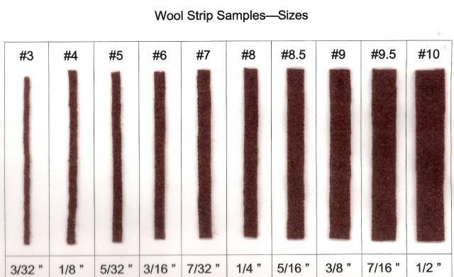 """**For those who want to know what each numbered cut strip size means: WOOL STRIPS cut from size #3 up to size #10 and what their """"actual measurement size"""" is!! More"""