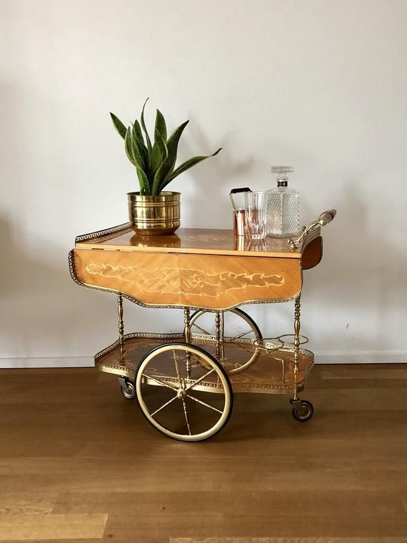 Italian Mid Century 50s 60s Golden Cart Tea Trolley Trolley On Rubber Tires And A Fold Out Lacquered Wooden Tray With Inlay T Wooden Tray Italian Bar Wooden
