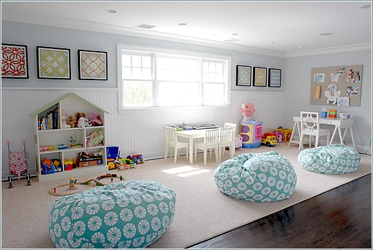 10 Amazing Playroom Design Ideas I like the paint color and fabric on the bean bag chairs.