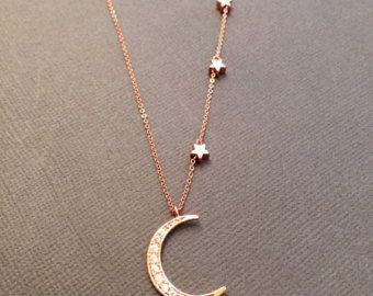 Gold Crescent Moon and Star necklace CZ Crescent Moon by Muse411