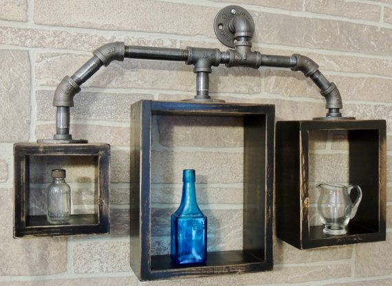 Due North Original: Industrial-Steampunk Box Pipe Shelves-Made with Black pipe, …