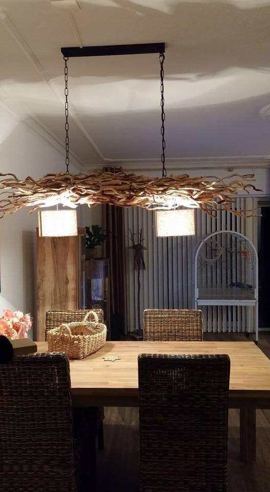 Takken lamp met  2 kapjes aan ketting verkrijgbaar op wwwtakkenlampen.nl