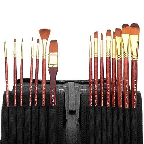 Professional Paint Brushes Set with Case Acrylic Oil Watercolor Face Painting #SantaFeArtSupply