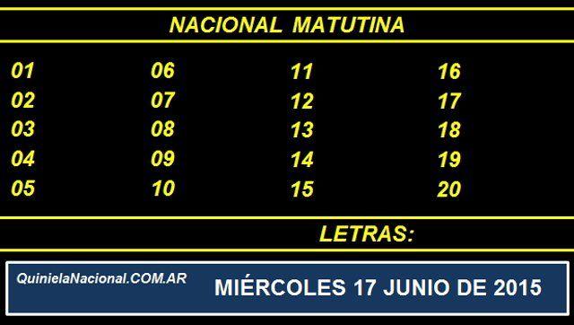 Quiniela Nacional Matutina Miercoles 17 de Junio de 2015. Fuente: http://quinielanacional.com.ar Pizarra de sorteo desarrollado en el recinto de la Loteria Nacional a las 14:00 horas. La jugada Matutina se efectuó con total normalidad.