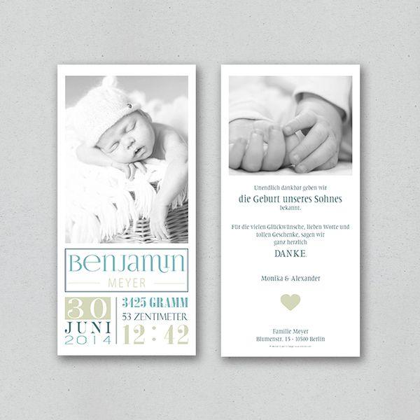 Geburtskarte - noble (boy) von STILARTEN - Kunst & Design auf DaWanda.com