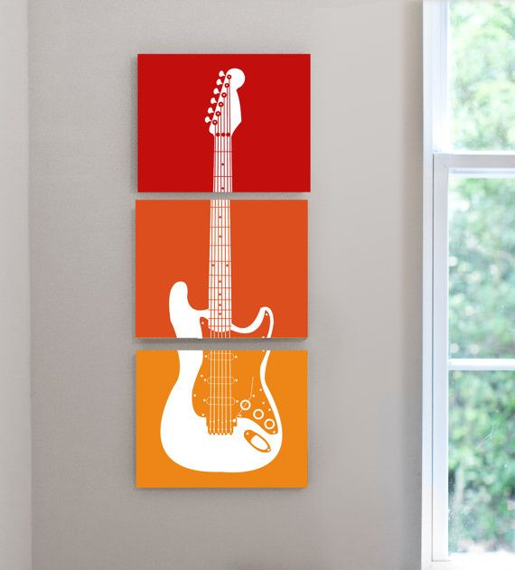 Rock n Roll theme guitar nursery kids teen music lover room canvas wall art - set of 3 8x10 canvas prints