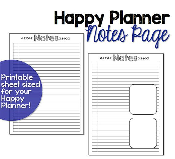 Happy planner note paper happy planner printable insert for Make a planner online